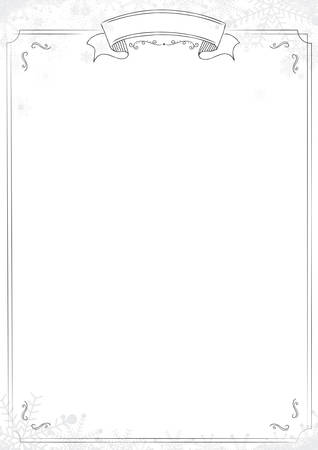 A4 size Cafe menu white background with classic border, winter snowflake and snow illustrations