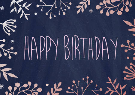 birthday border: A4 document size dark blue board background with drawing flora border Birthday greeting card