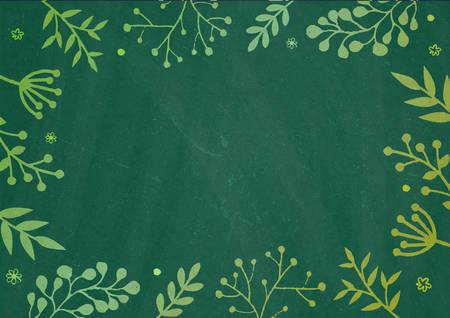 green plants: A4 document size dark Green board background with drawing flora border