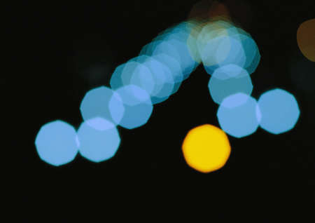 city lights: Blue city bokeh lights at night