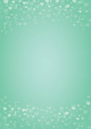 A4 Größe vertikal mintgrün Hintergrund mit Herzen Kopf- und Fußzeile Vektorgrafik