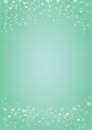 A4 size vertical mint green background with hearts header and footer Vector Illustration