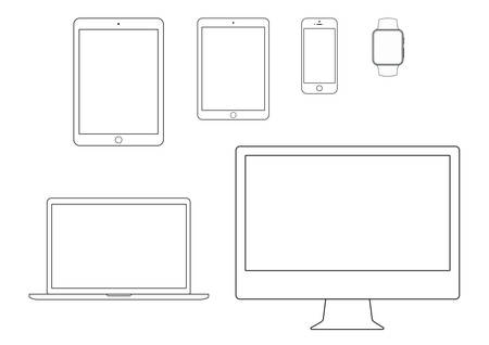 celling: mobile, tablet, notebook, computer line icon set