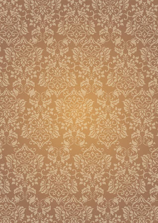 A4 Size Elegant Brown Flowers Pattern Textured Wallpaper Background Stock Vector