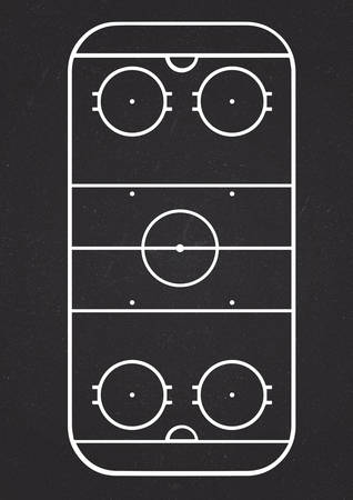 highschool: A4 size vertical ice hockey court line vector