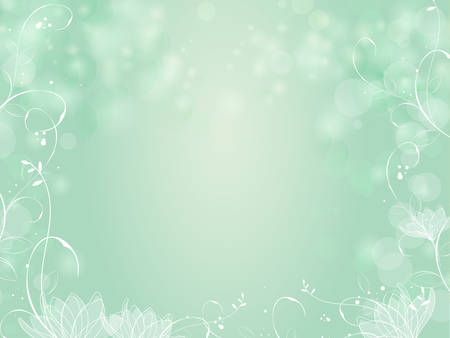 beauty care: Gradient green bokeh background with border lotus and plants