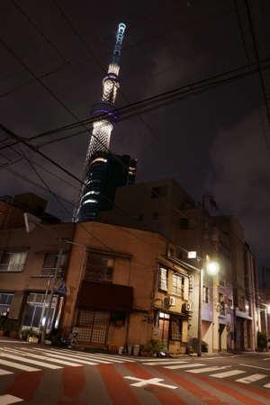 zebra crossing: Vertical Japan tower, residential houses and pedestrian zebra crossing at night