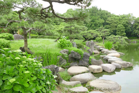 green trees grasses stone bridge and water pond in the japanese zen garden stock - Japanese Garden Stone Bridge