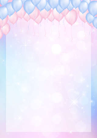 Pink and blue background with balloon header and the border paper