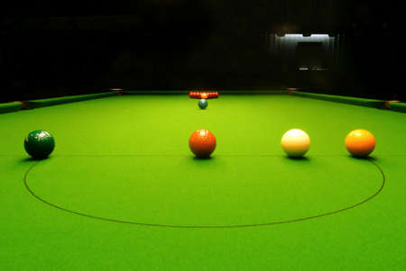 Game competition snooker balls closeup on green table