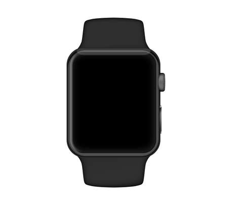 Isolated space gray aluminum case black band black screen smart watch on white background