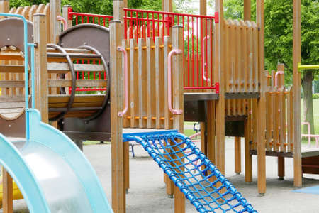 ourdoor: Colorful children playground slide in the outdoor park Stock Photo
