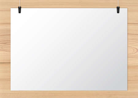 Notice board attached on the wooden background Stock Photo