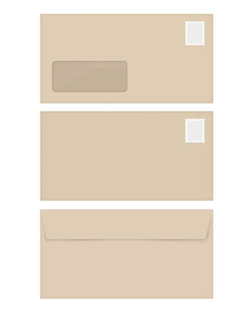 empty window: Isolated empty window beige envelope template with the stamp Stock Photo