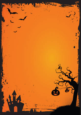 A3 international paper size Halloween element with border and background template