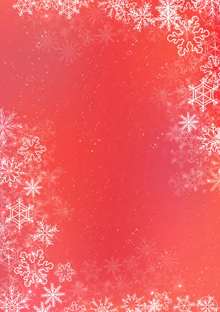 A3 red gradient winter paper background with the snow and snowflake border