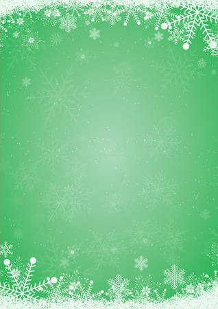 Winter green christmas background with the snow and snowflake border Illustration