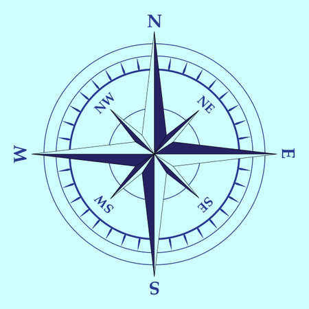 latitude: isolated nautical compass equipment in vector format