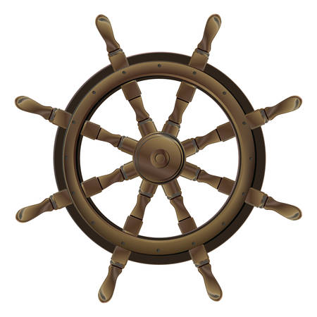 ship steering wheel: Isolated vintage brown wooden boat steering wheel on white background Illustration