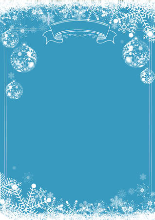 A4 size vertical Cafe menu classic blue winter christmas background with snowflake and xmas ball border