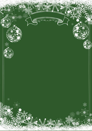 A4 size vertical Cafe menu classic green winter christmas background with snowflake and xmas ball border 矢量图像