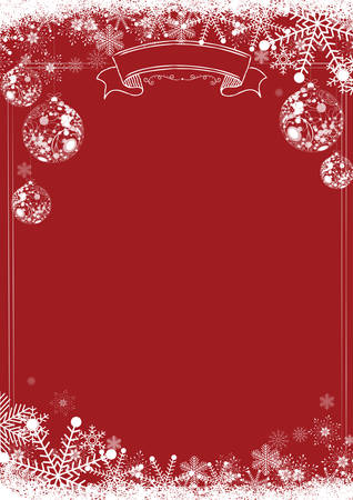 A4 size vertical Cafe menu classic Red winter christmas background with snowflake and xmas ball border Stock Illustratie