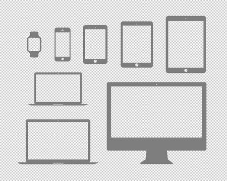 mobile, tablet, laptop, computer and the watch flat icon set