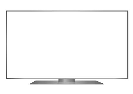 isolated OLED grey flat smart wide TV and black screen on white background