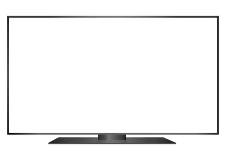 isolated OLED black flat smart wide TV and black screen on white background Illustration