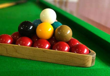 snooker balls on the green game table closeup Stock Photo