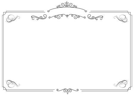 a4 size horizontal cafe menu ornamental retro elegant black border and white background stock vector