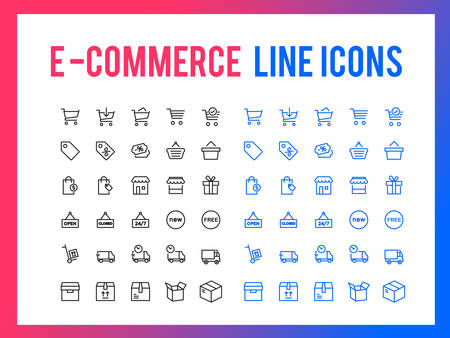 Online shopping vector line icon for app and mobile website responsive