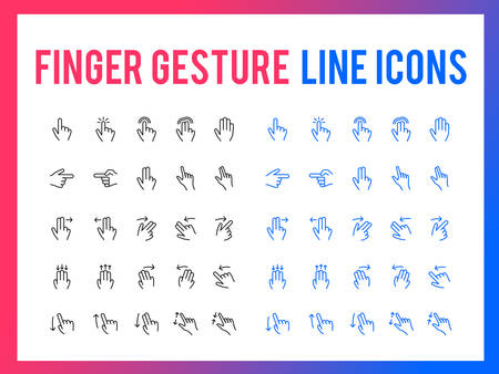 Finger gesture vector line icon for app and mobile website responsive