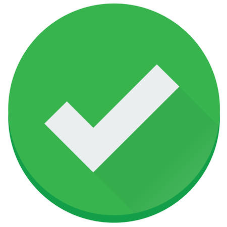 The flat green checked, finish, correct vector icon Illustration