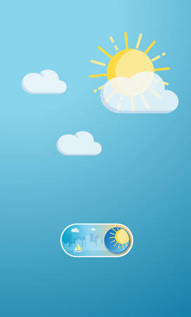 Sunny day cityscape illustration On and Off toggle switch icon and button