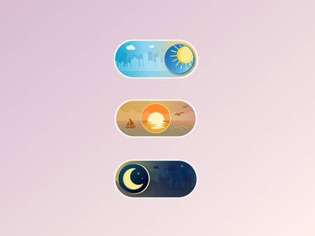 Professional gradient On, Neutral and Off Toggle switch button vector