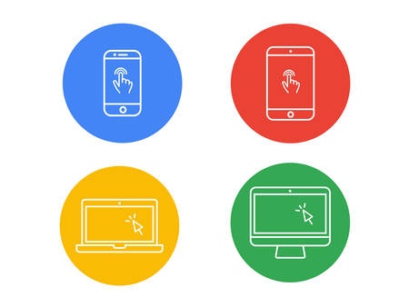 Laptop computer, tablet, mobile with finger gesture and cursor colorful flat icon set