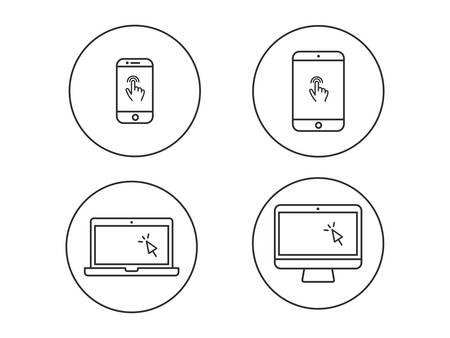 Laptop computer, tablet, mobile with finger gesture and cursor vector line icon