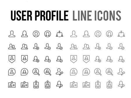 User profile vector line icon for app and mobile website responsive