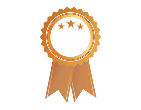 accomplish: The isolated vector gold color award medal ribbon badge  Illustration
