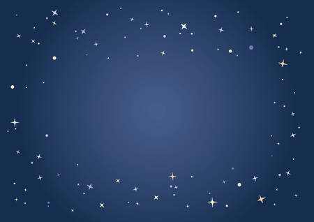 Starlit pattern border and the dark evening sky background