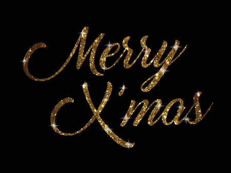 The golden glitter of isolated hand writing word  Merry Christmas on black blackground