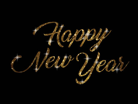 keywords backdrop: The golden glitter of isolated hand writing word HAPPY NEW YEAR on black blackground Illustration