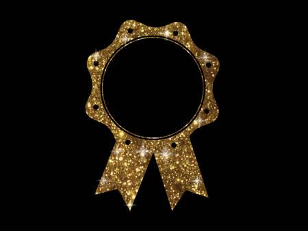 The vector golden glitter of gold color award medal ribbon badge on black background Illustration