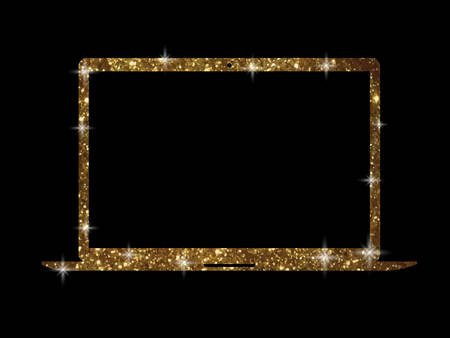 The vector golden glitter gold color flat laptop computer icon on black background