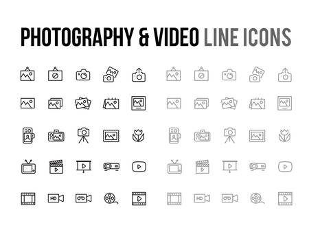 Photography & Video vector line icon for app, mobile website responsive