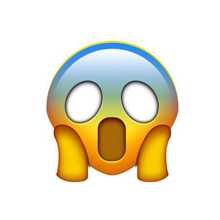 Isolated emoji yellow spooky face with the two hands icon