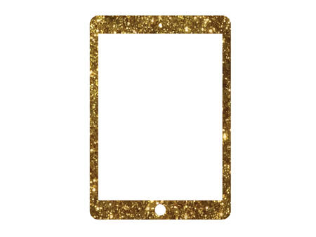 The vector golden glitter flat tablet computer icon