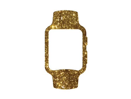 The vector golden glitter gold color flat smart watch icon on white background Illustration