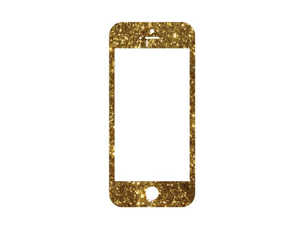 The vector golden glitter gold color flat smart phone icon on white background